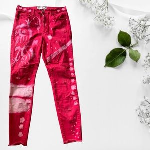 Size 9 Red Bleached Dyed Skinny Jeans